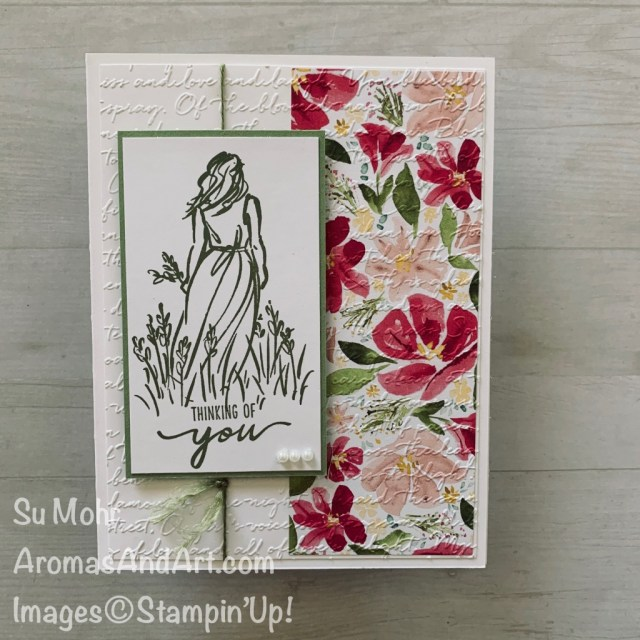 By Su Mohr for FMS; Click READ or VISIT to go to my blog for details! Featuring: Beautiful Moments Stamp Set, Best Dressed DSP, Scripty embossing; #thinkingofyou #beautifulmoments # scriptyembossing bestdresseddsp #2020minicatalog #handmadecards #handcrafted #diy #cardmaking #cardsketches #cardchallenges