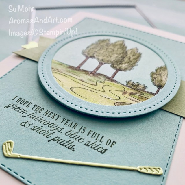 By Su Mohr for Fab Fri; Click READ or VISIT to go to my blog for details! Featuring: Country Club DSP, Golf Club Dies, Clubhouse Stamp Set, Banner Triple Punch, Watercolor Pencils; #masculinecards #masculinebirthdaycards #birthdaycards #golfoncards #golf #watercolorpencils #coloring #scenesoncards #2020minicatalog #stampinup #handmadecards #cardmaking #diy #papercrafts
