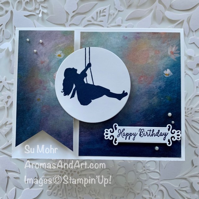 By Su Mohr for FMS; Click READ or VISIT to go to my blog for details! Featuring: Silhouette Scenes Stamp Set, Special Someone Stamp Set, Ornate Frames Dies, Pearl Jewels, Perennial Essence DSP, Banner Triple Punch; #swinging #silhouettesoncards #silhouettescenes #birthdaycards #pearls #$hostcode #bannertriplepunch #cardsketches #cardchallenges #handmadecards #handcrafted #diy #cardmaking #papercrafting