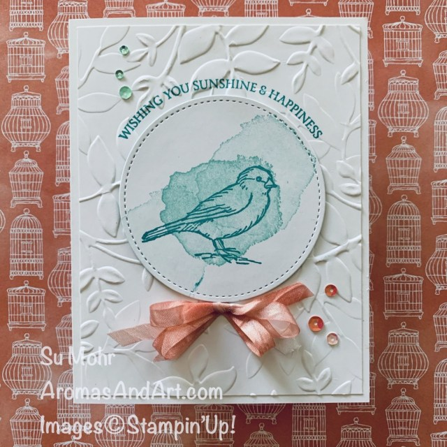 By Su Mohr for PP; Click READ or VISIT to go to my blog for details! Featuring: Free As A Bird Stamp Set, Stitched Shapes Dies, Crinkled Seam Binding Ribbon, Honey Bee Stamp Set, Layered Leaves embossing; #freeasabird #birdsoncards #honeybee #crinkledseambindingribbon #frienshipcards #colorcombos #cardchallenges #handmadecards #handcrafted #diy #cardmaking