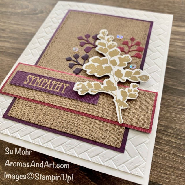 By Su Mohr for FMS; Click READ or VISIOT to go to my blog for details! Featuring: Positive Thoughts Stamp Set, Nature's Thoughts Dies, Well Said Stamp Set, Pressed Petals DSP, Lily Impressions DSP, Gold embossing, Coastal Weave embossing; #sympathycards #positivethoughts #naturesthoughts #wellsaid #embossing #coastalweave #basketweave #handmadecards #handcrafted #diy #cardmaking #papercrafting