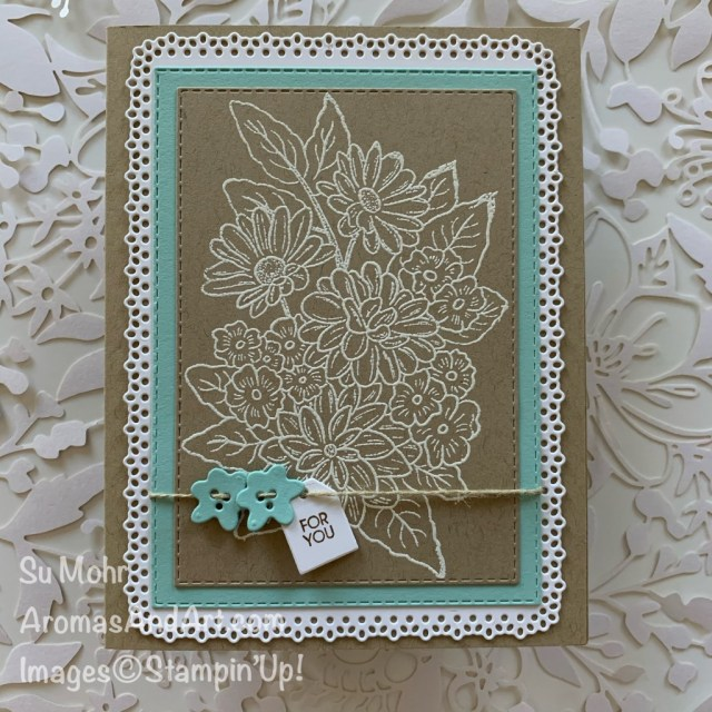 By Su Mohr; Click READ or VISIT to go to my blog for details! Featuring: Ornate Style Stamp Set, Ornate Layers Dies, Ornate Borders Dies, Stitched Rectangles Dies, Bouquet Bunch Dies; #ornatesuite #ornatestyle #ornatelayers #heatembossing #earlyrelease #2020stampinup #handmadecards #cardmaking #diy #handcrafted #papercrafting