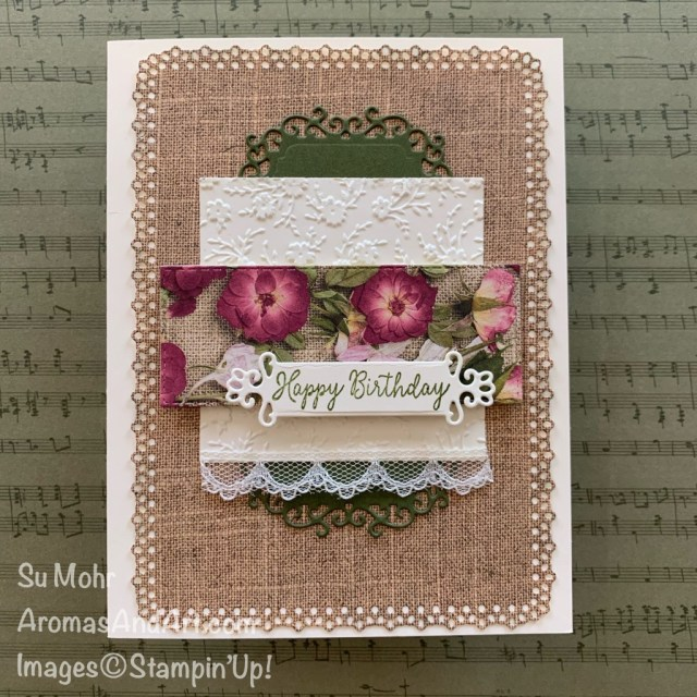 By su Mohr for TGIF; Click READ or VISIT to go to my blog for details! Featuring: Pressed Petals DSP, Layering Square Dies, Stitched Rectangles Dies, Ornate Frames Dies Ornate Layers Dies, Ornate Floral embossing; #birthdaycards #femininecards #femininebirthdaycards #handmadecards #handcrafted #diy #cardmaking #papercrafting #pressedpetals #ornateframes #ornatelayers #ornatefloral #hostcodegifts #burlaponcards #retiringproducts #lastchance