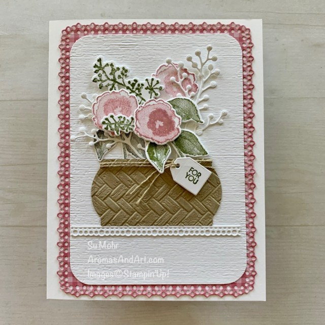 By Su Mohr for the Pals Blog Hop; Click READ or VISIT to go to my blog for details! Featuring: First Frost Stamp Set, Frosted Bouquet Dies, Painted Label Dies, Ornate layers Dies, Coastal Weave embossing; #fowersoncards #basketofflowers #basketbouquet #friendshipcards #handmadecards #handcrafted #diy #cardmaking #papercrafting #stampinup #bloghops