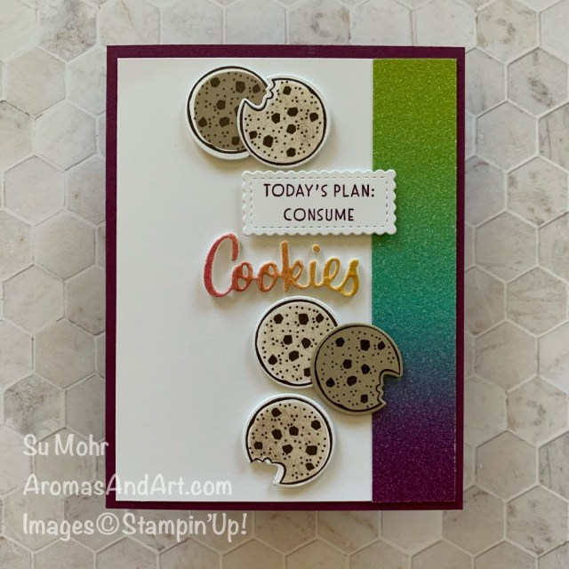 By Su Mohr for the Global Design Project Design Team #GDP246; Featuring Nothing's Better Than Stamp Set, Love You More Than Dies, Rainbow Glimmer Paper, Foam Adhesive Sheets; #humorouscards #cookies #cookiesoncards #nothing'sbetterthan #iloveyoumorethan #rainbowpaper #rainbowglimmerpaper #stampinup #handmadecards #handcrafted #diy #cardmaking #papercrafting