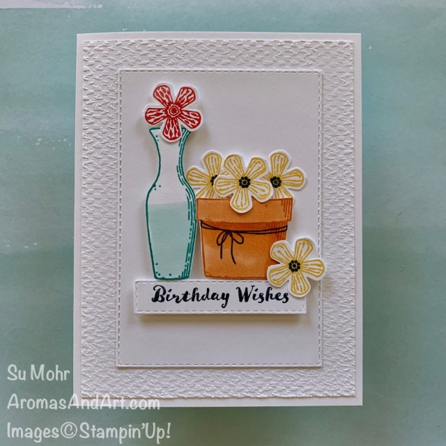 By Su Mohr for Fab Fri; Click READ or VISIT to go to my blog for details! Featuring: Basket Of Blooms Stamp Set, Small Bloom Punch, Itty Bitty Birthdays Stamp Set, Tasteful Textile embossing, Stampin' Blends; #basketofblooms #thoughtfulblooms #flowers #flowersoncards #birthdayvards #handmadecards #handcrafted #diy #cardmaking #cardinstructions #papercrafting #colorcombos
