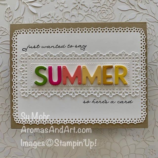 By Su Mohr for Fusion; Click READ or VISIT to go to my blog for details! Featuring: Playful Alphabet Dies, Ornate Layers Dies, Ornate Thanks Stamp Set; #summer #summerthemes #summercards #ornatethanks #ornatelayers #alphabetdies #playfulalphabet #handmadecards #handcrafted #diy #cardmaking #papercrafting #ornatelayers #beach #humorouscards