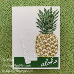 By Su Mohr for Fusion; Click READ or VISIT to go to my blog for details! Featuring: In the Tropics Dies, Ornate layers Dies, Tasteful Textile embossing, Greenery embossing, Forever Greenery Paper, Textured Essentials Stamp Set; #pineapples #pineapplesoncards #fruit #fruitoncards #cardsketches #inthetropics #stampinup #handmadecards #handcrafted #diy #cardmaking #papercrafting #cardtechniques