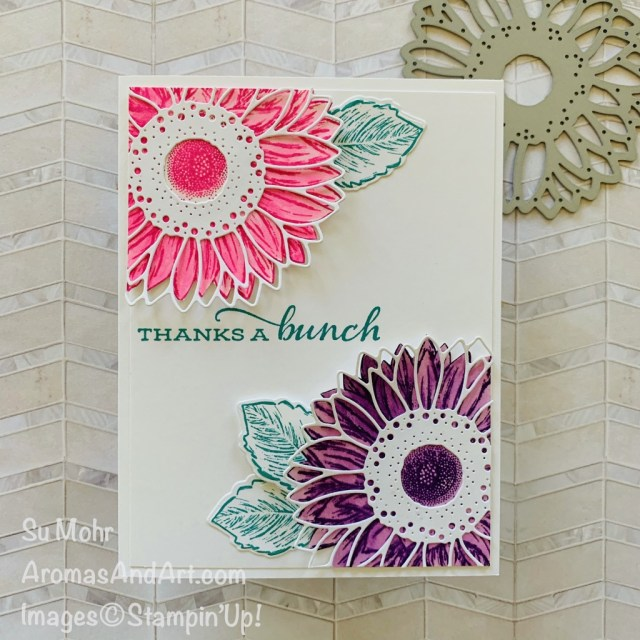 By bSu Mohr for TGIF and cts; Click READ or VISIT to go to my blog for details! Featuring: Celebrate Sunflowers Stamp Set, Sunflowers Dies, Water Painters; #sunflowers #sunflowersoncards #celebratesunflowers #sunflowersdies #watercoloring #waterpainters #cardsketches #cardchallenges #colorcombos #handmadecards #handcrafted #diy #cardmaking #papercrafting #stampinup
