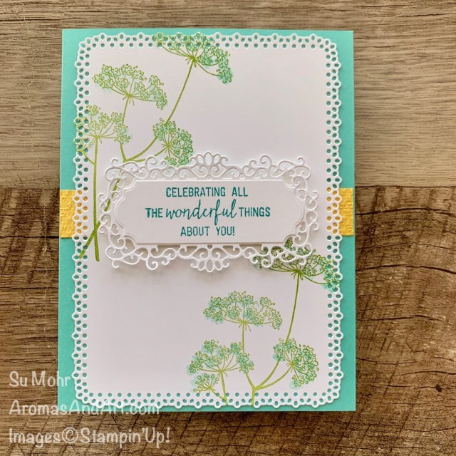 By Su Mohr for FMS; Click READ or VISIT to go to my blog for details! Featuring: Queen Anne's Lace Stamp Set, Ornate layers Dies, Ornate Frames Dies, Tasteful Textile embossing; #queenanneslace #starterkit #ultimatestarterkit #friendshipcards #alternativedesigns #stampinup ##cardsketches #handmadecards #handcrafted #diy #cardmaking #papercrafting