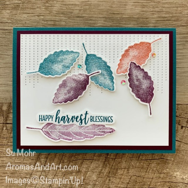 By Su Mohr for PP and Fab Fri; Click READ or VISIT to go to my blog for details! Featuring: Love of Leaves Bundle, Love of Leaves Stamp Set, Stitched Leaves Dies, Country Home Stamp Set; #thanksgivingcards #loveofleaves #stitchedleaves #card sketches #cardchallenges #colorcombos #stampinup #leaves #leavesoncards #fallcards #handmadecards #handcrafted #diy #cardmaking #papercrafting