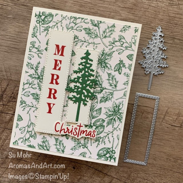 By Su Mohr for FMS; Click READ or VISIT to go to my blog for details; Featuring: Festive Corners Stamp Set, Toile Tidings Paper, Ornate Layers Dies, PineWoods Dies, Snowman Season Stamp Set; #christmascards #holidaycards #holiday2020 #christmastrees #pinetrees #treesoncards #pinewoods #handmadecards #handcrafted #diy #cardmaking #papercrafting #toiletidings