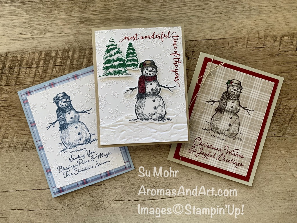 By Su Mohr for Stamping Sunday Blog Hop; Click READ or VISIT to go to my blog for details! Featuring: Snow Wonder Stamp Set, Winter Snow embossing,Plaid Tidings Paper,Stitched Rectangles Dies, Pine Woods Dies, Snow Time Dies, Festive Corners, Old World Paper embossing; #christmascards #holidaycards #snowman #snowmenoncards #embossingoncards #stampingsundaybloghop #beginnercasualavid #cardsforbeginners #handmadecards #handcrafted #diy #papercrafting #cardmaking