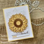 By Su Mohr for PP; Click READ or VISIT to go to my blog for details! Featuring:Celebrate Sunflowers Bundle, Brushed Metallic Paper, Tasteful Textile embossing, In Color 6X6 Designer Paper; #thankyoucards #celebratesunflowers #sunflowers #sunflowersoncards #handmadecards #handcrafted #diy #papercrafting #cardmaking #flowersoncards #tictactoe #cardchallenges