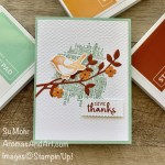 By Su Mohr for GDP261; Click READ or VISIT to go to my blog for details! Featuring: Arrange A Wreath Bundle, Birds & Branches Bundle, Textured Essentials Stamp Set, Stitched So Sweetly Dies, Tasteful Textile embossing; #gdp261 #globaldesignproject #birds #birdsoncards #colorcombos #cardchallenges #thanksgivingcards #handmadecards #handcrafted #diy #cardmaking #papercrafting #stampinup #holiday2020