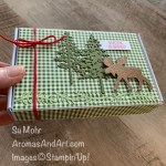 By Su Mohr for Pals Blog Hop; Click READ or VISIT to go to my blog for details! Featuring: Mini Paper Pumpkin Boxes; Moose Punch, Heartwarming Hugs Designer Paper, Red Braided Linen Trim, Pine Woods Dies, Copper Foil, Itty Bitty Christmas Stamp Set; #christmasgifts #handmadechristmasgifts #minipaperpumpkinboxes #stampinup #heartwarminghugs #moose #moosepunch #handmadeboxes #smallgifts #pinetrees #3Dprojects