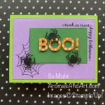 By Su Mohr for Fab Fri and TGIF; Click READ or VISIT to go to my blog for details! Featuring: Little Treat Box Dies, Playful Alphabet Dies, Festive Corners Stamp Set, Stitched Rectangles Dies; #halloween #halloweencards #spiders #spidersoncards #boooncards #festivecorners #littletreatbox #playfulalphabet #trickortreat #handmadecards #handcrafted #diy #cardmaking #papercrafting #stampinup #holiday2020