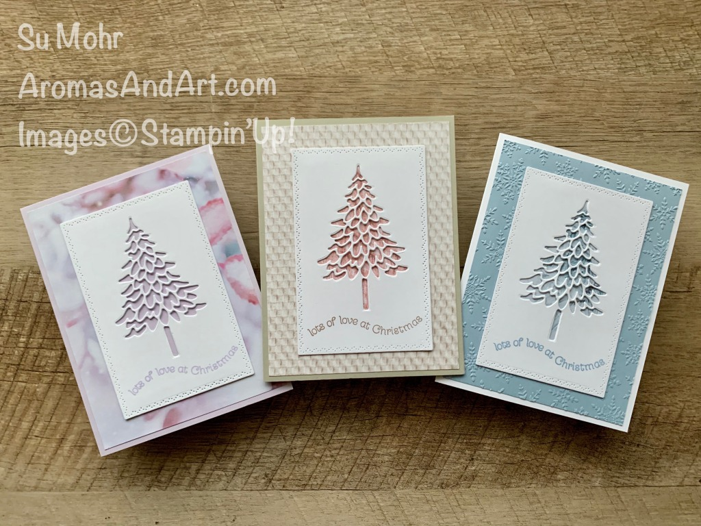 By Su Mohr; Click READ or VISIT to go to my blog for details! Featuring: Pine Woods Dies, Nature's Thoughts Dies, Itty Bitty Christmas Stamp Set, In Good Taste Designer Paper, Feels Like Frost Designer Paper, Winter Snow embossing; #christmascards #holidaycards #hoilday2020 #stampinup #christmastrees #treesoncards #quick&easycards #cardinstruction #handmadecards #handcrafted #diy #cardmaking #papercrafting