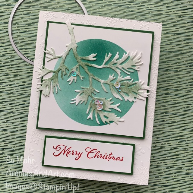 By Su Mohr for GDP269; Click aromasandart.com for details! Featuring: Beautiful Boughs Dies, Layering Circles Dies, Winter Snow embossing, Cherish The Season Stamp Set; #christmascards #holidaycards #holiday2020 #beautifulboughs #layeringcircles #blendingbrushes #wintersnowembossing #cherishtheseason #handmadecards #handcrafted #diy #cardmaking #papercrafting #cardinstruction #colorcombos