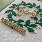 By Su Mohr for PP; Click READ or VISIT to go to my blog for details! Featuring: Peace & Joy Bundle; Wreath Builder Dies, Oinewood Planks embossing, Brushed Metallic Paper; #peace&joybundle #joy #wreaths #wreathsoncards #christmascards #holidaycards #cardtechniques #heatembossing #cardinstruction #handmadecards #handcrafted #diy #papercrafting #stampinup