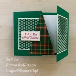 By Su Mohr for cts; Click aromasandart.com to go to my blog for details! Featuring: Stitched Triangles Dies, Plaid Tidings paper, Regals 6X6 paper, Little Treats Bundle; #christmascards #holidaycards #christmastrees #plaidoncards #treesoncards #fancyfoldcards #fancyfolds #gatefold #handmadecards #handcrafted #diy #cardmaking #papercrafting #plaidtidings #cardchallenges #trianglesoncards #hohoho