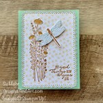By Su Mohr for Fab Friday; Dragonfly Garden, Dragonflies Punch, Dandy Garden Designer Paper, Ornate Layers Dies; #quick&easycards #cardtechniques #colorcombos #dandygarden #dragonflygarden #dragonfliespunch #dandygarden #handmadecards #handcrafted #diy #onstageathome #cardmaking #papercrafting #cardinstruction #inktostamp