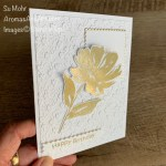 By Su Mohr for FMS; Click aromasandart.com to go to my blog for details! Featuring: Art Gallery Stamp Set, Floral Gallery Dies, Layering Squares Dies, Ornate Floral embossing; #birthdaycards #flowersoncards #flowers #cardtechniques #heatembossing #whiteandgoldcards #artgallery #floralgallery floralcards #handmadecards #handcrafted #diy #cardmaking #papercrafting #cardsketches #stampinup #2021catalog