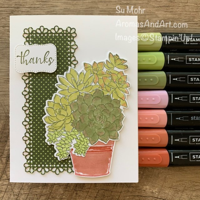 By Su Mohr; Click aromasandart.com to go to my blog for details! Featuring: Simply Succulents Bundle, Simply Succulents Stamp Set, Potted Succulents Dies, Stampin' Blends, Ornate layers Dies, Heartwarming Hugs Designer Paper; #succulents #plantsoncards #pottedplants #simplysucculents #sneakpeeks #Jan-June2021minicatalog #2021catalog #stampinup #handmadecards #handcrafted #diy #cardmaking #papercrafting #cardinstruction #coloring