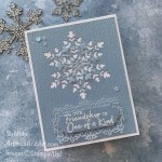 By Su Mohr for PP; Click aromasandart.com to go to my blog for details! Featuring: Snowflake Wishes Stamp Set, So Many Snowflakes Dies, Ornate Frames Dies, Subtle Textured embossing; #heatembossing #snowflakes #snowflakewishes #somanysnowflakes #friendshipcards #stampinup #stampinup2021 #snowoncards #cardchallenges #cardthemes #handmadecards #handcrafted #diy #cardmaking #papercrafting #stamping