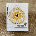 By Su Mohr for PP; Click aromasandart to go to my blog for details; Featuring: Sunflower Dies, Dandy Garden Designer paperm Tasteful Textile embossing, Itty Bitty Birthday Stamp Set; #celebrationcards #birthdaycards #sunflowerdies #sunflowers #sunflowersoncards #bees #beesoncards #dandygarden #handmadecards #handcrafted #diy #cardmaking #paper crafting #stampinup #stamping #sumohr #aromasandart #colorcombos #cardchallenges #carddesigns
