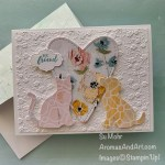 By Su Mohr; Click aromasandart.com to go to my blog for details! Featuring: Itty Bitty Greetings Stamp Set, Dog Punch, Cat Punch, Be Mine Stitched Dies, Ornate Floral embossing, Fine Art Floral Designer Paper; #dogpunch #catpunch #heartsoncards #valentines #valentinecards #ornatefloral #fineartfloral #sumohr #aromasandart #handmadecards #handcrafted #diy #cardmaking #papercrafting #stamping #stampinup #sale-a-bration2021
