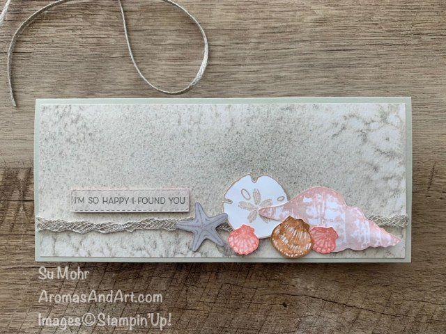 By Su Mohr for FMS; Click aromasandart.com to go to my blog for details! Featuring: Friends Are Like Seashells Bundle, Sand & Sea Designer Paper, Braided Linen Trim; #friendsarelikeseashells #seashells #shells #beach ##shellsoncards #sand&sea #stampinup2021 #slimlinecards #cardchallenges #handmadecards #handcrafted #diy #cardmaking #papercrafting #stamping #2021saleabration