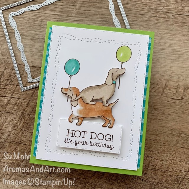 By Su Mohr for the Pals Blog Hop; Click aromasandart.com to go to my blog for details! Featuring: Hot Dog Stamp Set, Stitched With Whimsy Dies, Stitched Rectangles Dies, Stampin' Blends; #hotdog #weinerdogs #doxies #dogs #dogsoncards #stitchedwithwhimsy #whimsicalcards #cardsforkids #birthdaycards #handmadecards #handcrafted #diy #cardmaking #papercrafting #stamping #bloghops #sumohr #aromasandart #cardinstruction