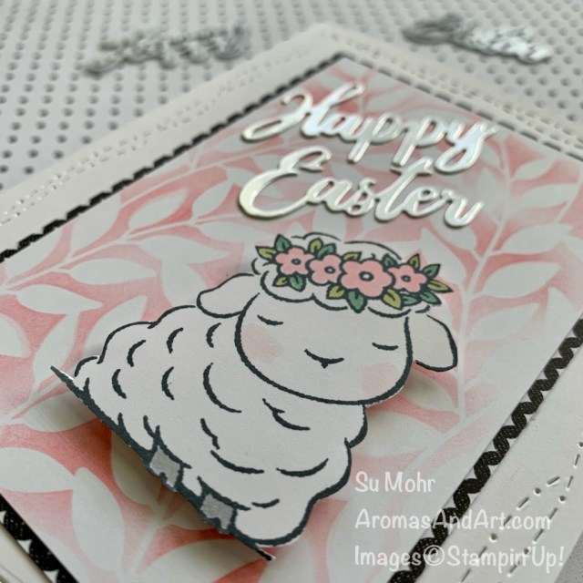 By Su Mohr for PP; Click aromasandart to go to my blog for details! Featuring: Springtime Joy Stamp Set, Stitched With Whimsy Dies,True Love Designer Paper,Forever Gold Laser-Cut Paper,Word Wishes Dies; #eastercards #springcards #lambs #lambsoncards #animalsoncards #stenciling #stencilingtechnique #cardtechniques #wordwishes #handmadecards #handcrafted #diy #cardmaking #papercrafting #sumohr #aromasandart
