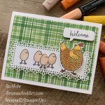 By Su Mohr for TGIF; Click aromasandart.com to go to my blog for details! Featuring: Delightful Berry Designer Paper, Hey Chick Stamp Set, Special Day Dies, Stitched Rectangles Dies, Ornate Layers Dies, Welcoming Window Stamp Set; #heychick #humorouscards #ornatelayers #plaidpaper #plaidoncards #sumohr #aromasandart #delightfulberrypaper #handmadecards #handcrafted #diy #cardmaking #papercrafting #cardinstruction #stamping #stampinup #chickens #chickensoncards #saleabration2021