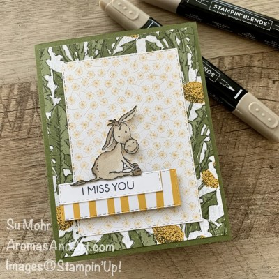 By Su Mohr for Fab Fri; Click aromasandart to go to my blog for details! Featuring: Darling Donkeys Stamp Set, Dandy Garden Designer Paper, Stitched Rectangles Dies, Stampin' Blends; #missyoucards #darlingdonkeys #dandygarden #handmadecards #handcrafted #diy #cardmaking #coloring #papercrafting #friendshipcards #sumohr #aromasandart #stamping #stampinup #donkeys #animalsoncards