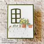 By Su Mohr for FMS; Click aromasandart to go to my web site for details! Featuring: Welcoming Window Stamp Set, Window Flower Box Dies, Ornate Frames Dies, Itty Bitty Greetings Stamp Set; #welcomingwindow, #Windowflowerbox #windows #windowsoncards #masculinecards #bricks #bricksoncards #handmadecards #handcrafted #diy #cardmaking #papercrafting #flowers #flowersoncards #sumohr #aromasandart #cardsketches #stamping #stampinup