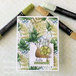 By Su Mohr for Fab Fri; Click aromasandart to go to my web site for details; Featuring: Snailed It Stamp Set, Snail Dies, Floral Gallery Dies, Forever Greenery Designer Paper, Stampin
