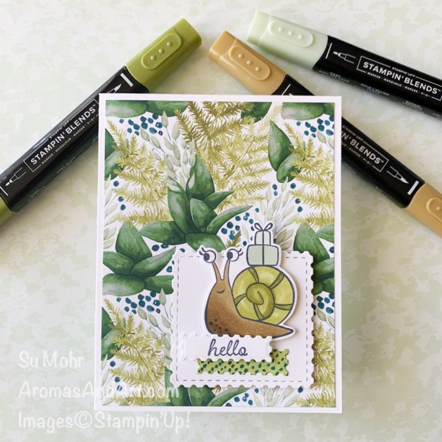 By Su Mohr for Fab Fri; Click aromasandart to go to my web site for details; Featuring: Snailed It Stamp Set, Snail Dies, Floral Gallery Dies, Forever Greenery Designer Paper, Stampin' Blends; #snailedit #snaildies #snails #snailsoncards #snailmail #happymail #stampinup #forevergreenery #handmadecards #handcrafted #diy #cardmaking #papercrafting #sumohr #aromasandart #stampinblends #cardsketches #cardchallenges #cardinstruction #cardinspiration