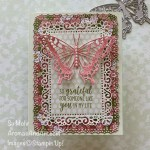 By Su Mohr for FF; Click aromasandart to go to my web site for details! Featuring: Brilliant Wings Dies, Ornate Layers Dies, Ornate Garden Designer Paper, Country Home Stamp Set; #brilliantwings #butterflies #butterfliesoncards #ornategarden #countryhome #ornatelayersdies #colorcombos #cardchallenges #handmadecards #handcrafted #diy #cardmaking #papercrafting #stampinup #retiringproducts #sumohr #aromasandart