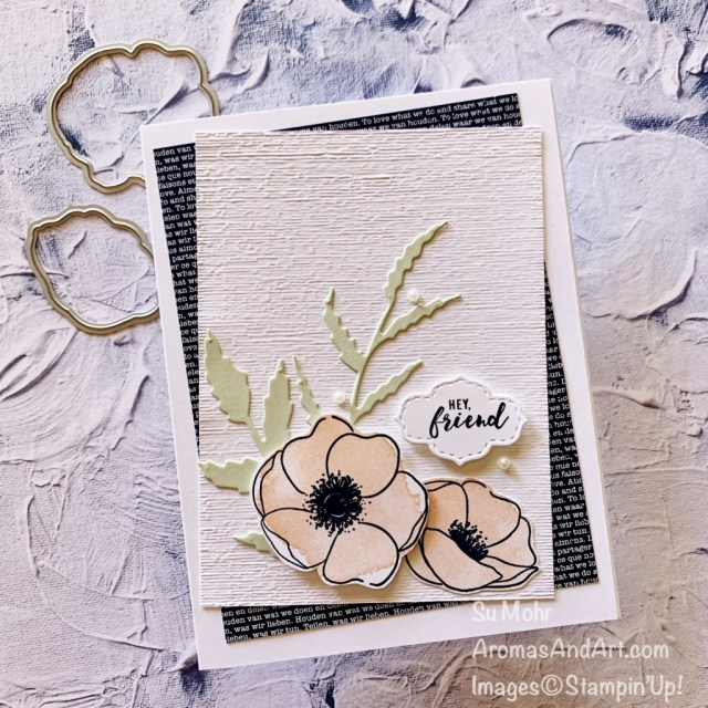 By Su Mohr for GDP288; Click aromasandart to go to my web site for details! Featuring: Painted Poppies Stamp Set, Painted Labels Dies, Poppy Moments Dies, Stitched So Sweetly Dies, Stitched So Sweetly Dies, Subtle Textured embossing;#handmadecards #handcrafted #diy #cardmaking #papercrafting #stampinup #sumohr #aromasandart #aromasandart.com/shop #cardinstruction #paintedpoppies #poppies #poppiesoncards #flowersoncards #gdp288 #cardchallenges