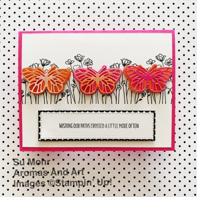 By Su Mohr for Fusion; Click aromasandart to go to my web site for details! Featuring: Painted Poppies Stamp Set, WelcomingWindow Stamp Set, Brilliant Wings Dies, Ornate Layers Dies; #paintedpoppies #poppies #flowers #flowersoncards #butterfliesoncards #ornatelayers #handmadecards #handcrafted #diy #cardmaking #papercrafting #cardthemes #cardchallenges #sumohr #aromasandart