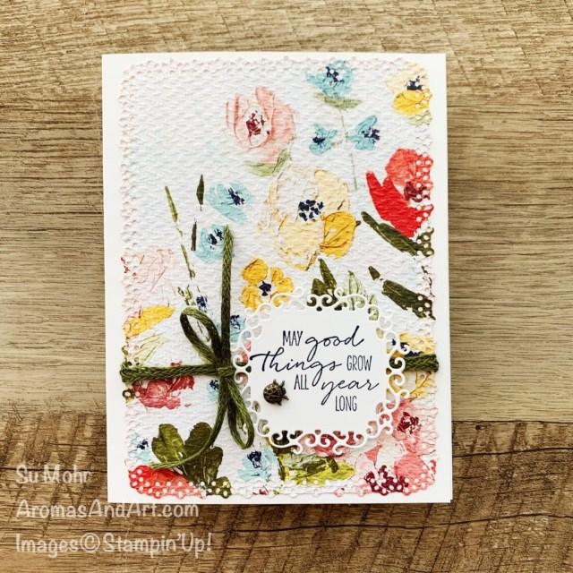By Su Mohr for Paper Players; Click aromasandart to go to my web site for details! Featuring: Fine Art Floral Designer Paper, Ornate Layers Dies, Ornate Frames Dies, Tasteful Textile Embossing Folder, Braided Linen Trim, Ladybug Trinkets; #flowers #flowersoncards #fineartfloral #ladybugs #dragonflygarden #ornatelayers #ornateframes #handmadecards #handcrafted #diy #cardmaking #papercrafting #sumohr #aromasandart #cardthemes #cardchallenges #stampinup
