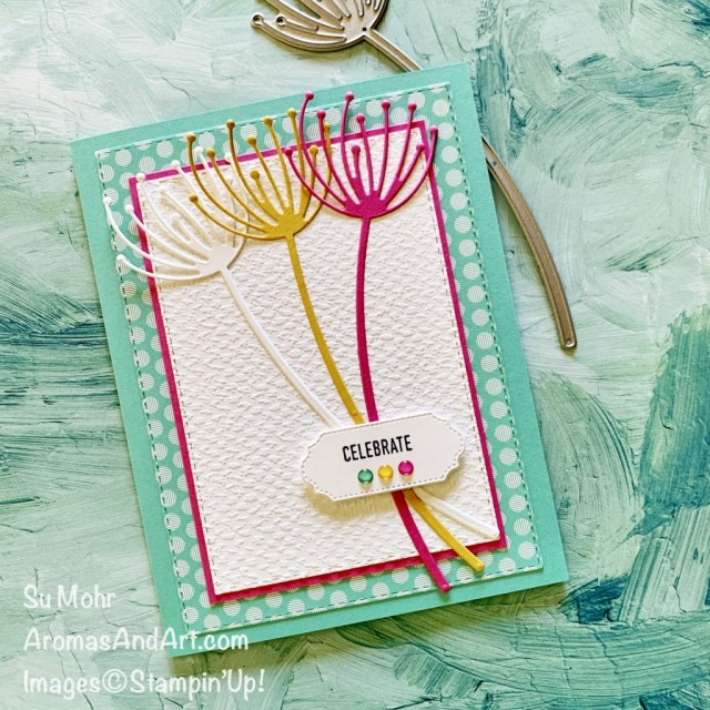 By Su Mohr for GDP289; Click aromasandart to go to my blog for details! Featuring: Dandy Wishes Dies, Stitched Rectangles Dies, Ornate Frames Dies, Itty Bitty Greetings Stamp Set, Tasteful Textile embossing; #dandywishes #gardenwishes #stitchedrectangles #handmadecards #handcrafted #diy #cardmaking #papercrafting #sumohr #aromasandart #gdp289 #brightcolors #colorcombinations #cardchallenges #ittybittygreetings