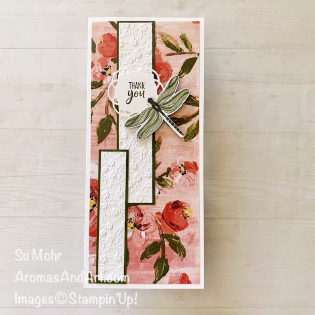 By Su Mohr for FMS; Click aromasandart to go to my web site for details! Featuring: Dragonflies Punch, Fine Art Floral Designer Paper, Dandy Garden Designer Paper, Ornate Floral Embossing Folder, Painted Labels Dies; #dragonfliesoncards #dragonfliespunch #fineartfloral #dandygarden #ornatefloral #paintedlabels #slimline #slimlinecards ##sumohr #aromasandart #handmadecards #handcrafted #diy #cardmaking #papercrafting #stampinup #cardsketches
