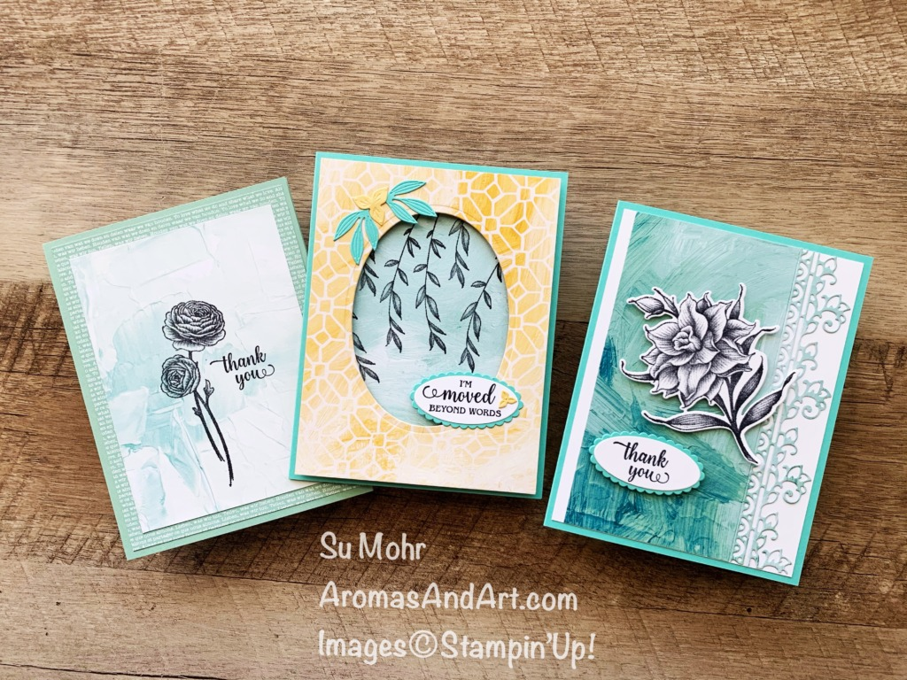 By Su Mohr for Stamping Sunday Blog Hop; Click aromasandart to go to my web site for details! Featuring: Flowering Blooms Stamp Set, Flowering Dies, Fine Art Floral Designer Paper, Layering Ovals Dies; #retiringproducts #lastchanceproducts #stampinup #stampinupsale #floweringblooms #floweringdies #flowersoncards #simplestamping #cardtechniques #beginningstampers #avidstampers #casualstampers #handmadecards #handcrafted #diy #cardmaking #papercrafting #sumohr #aromasandart