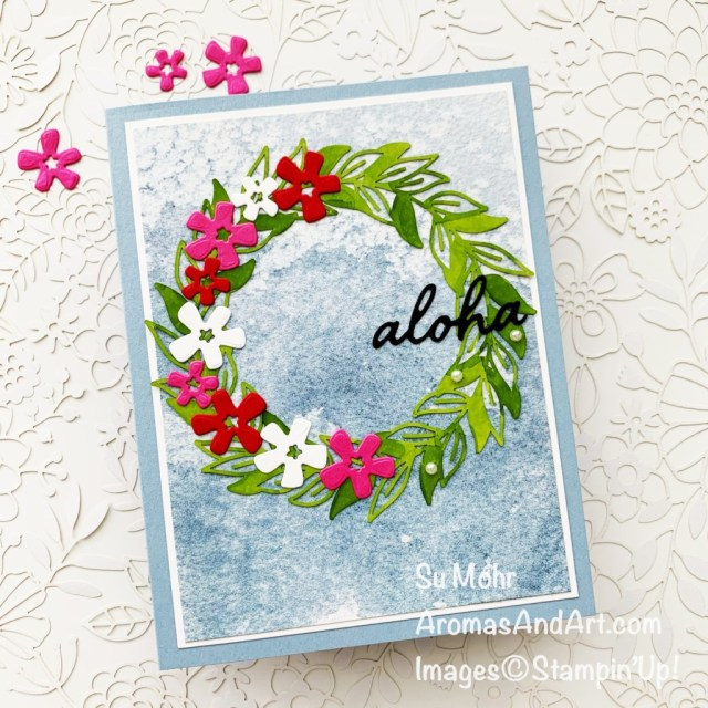 By Su Mohr for GDP290; Click aromasandart to go to my blog for details! Featuring: Sand & Sea Designer Paper, Forever Gold Laser-Cut Paper, In The Tropics Dies; #leis #hawaii #hawaiianleis #wreaths #wreathsoncards #aloha #gdp290 #cardsketches #inthetropics #timelesstropical #tropicalcards #sumohr #aromasandart #handmadecards #handcrafted #diy #cardmaking #papercrafting