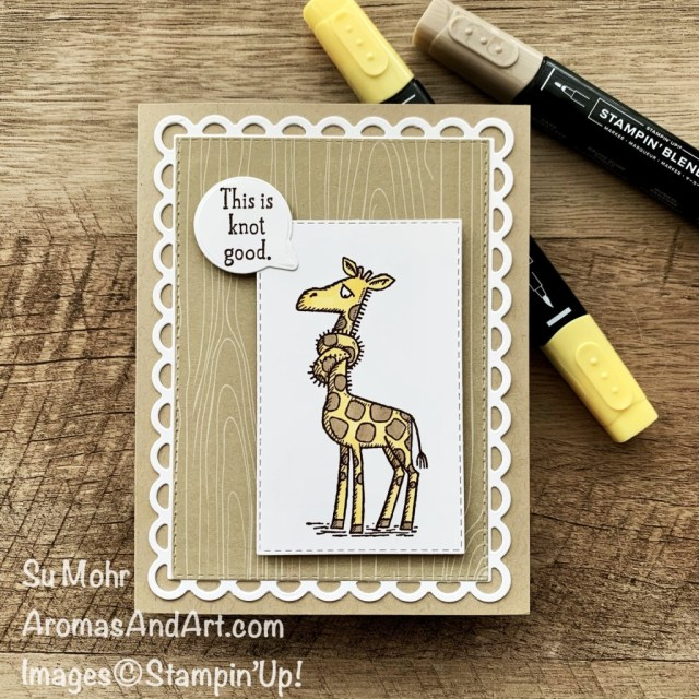 By Su Mohr for Fusion; Click aromasandart to go to my web site for details! Featuring: Back On Your Feet Stamp Set, Stitched Rectangles Dies, Scalloped Contours Dies, Snail Dies, Stampin' Blends; #getwellcards #sympathycards, #humorouscards #giraffes #giraffesoncards #backonyourfeet #scallopedcontoursdies #handmadecards #handcrafted #diy #cardmaking #papercrafting #sumohr #aromasandart