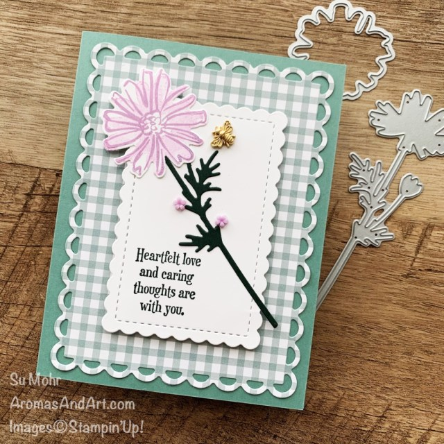 By Su Mohr for the Pals Blog Hop; Click aromasandart to go to my web site for details! Featuring: Color & Contour Stamp Set, Quiet Meadow Stamp Set, Pansy Petals Designer Paper, Scalloped Contours Dies, Meadow Dies, Loose Flower Flourishes,. Bumblebee Trinkets, 2021-2023 In Colors; #2021-2023incolors #bloghops #color&contour #quietmeadow #pansypetals #scallopedcontours #meadowdies #looseflowerflourishes #bumblebeetrinkets #handmadecards #handcrafted #diy #cardmaking #papercrafting #sumohr #aromasandart #flowersoncards