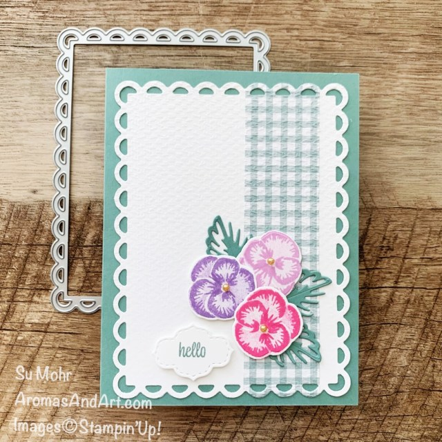 By Su Mohr for Fusion; Click aromasandart to go to my website for details! Featuring: Pansy Patch Stamp Set, Pansy Dies, Pansy Petals Designer Paper, Scalloped Contours Dies, Stitched So Sweetly Dies, Tasteful Textile embossing; #pansypatch #pansydies #pansypetals #pansies #flowersoncards #scallopedcontoursdies #handmadecards #handcrafted #diy #cardmaking #papercrafting #tastefultextileembossing #sumohr #aromasandart #cardchallenges #cardsketches